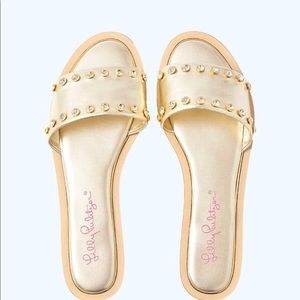 Lilly Pulitzer Rachel Gold Slides Sandals
